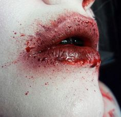"""the area in the realm where he resides is always below freezing, so his lips are always so chapped that they bleed. Adds on to the """"demon"""" thing I guess lol. Gore Aesthetic, Warm Bodies, Kawaii, American Horror Story, More Pictures, Creepy, It Hurts, Blood, Fantasy"""
