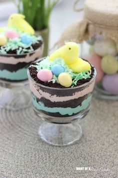 Easter PEEPS Dirt Pudding Cups