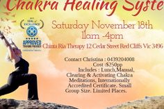 November, AM AM - Chinta Ria Therapy - Red Cliffs - Australia - Just when you thought you know every thing about Chakras! Chakra Meditation, Chakra Healing, Small Groups, November, Therapy, Workout, Places, November Born, Work Out