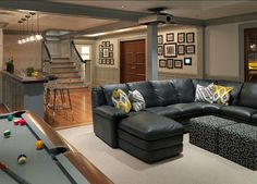Browse photos of Basement Rec Room ideas. Find ideas and inspiration for Basement Rec Room to add to your own home. See more ideas about Game room basement, Game room and Finished basement bars Game Room Basement, Basement Layout, Basement Bedrooms, Basement Bathroom, Basement Apartment, Basement Flooring, Basement Plans, Gray Basement, Basement Stairs