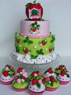 Strawberry house cake reminds me of Strawberry Shortcake :) Baby Cakes, Girl Cakes, Cupcake Cakes, Beautiful Cake Pictures, Beautiful Cakes, Amazing Cakes, Strawberry Shortcake Birthday Cake, Strawberry Baby, Strawberry Garden