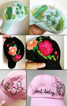 Hat Embroidery, Embroidery On Clothes, Silk Ribbon Embroidery, Hand Embroidery Patterns, Embroidery Stitches, Knitting Patterns, Bone Bordado, Sewing Crafts, Sewing Projects