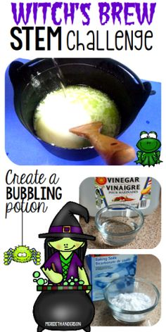 Halloween STEM Challenge - Create a bubbling witch's brew potion! | Meredith Anderson for STEM Activities for Kids