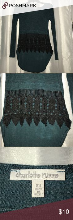 High-low Charlotte Russe top Short in the front and long in the back. Dark blueish/green. Never worn. Charlotte Russe Tops Blouses