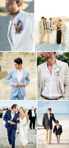 This one is for the guys! Here's some beachy looks for the groom and groomsmen to rock on the wedding day.