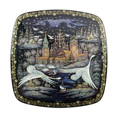 Kholui Russian Lacquer Box 3659 Swans Flying Russian North | eBay