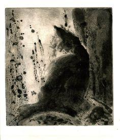 Hagit Shahal - Cat at the Window, 2009 spit bite aquatint, Image size: 20/18 cm