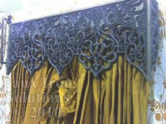 Faux Iron as a Cornice over dramatic silk curtains Valences For Windows, Window Cornices, Window Coverings, Window Treatments, Valances, Window Curtains, Curtain Designs, Curtain Ideas, Cornice Ideas