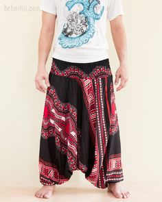 African Dashiki Harem Pants Unisex Low Crotch Yoga Trousers (Tribal Red)
