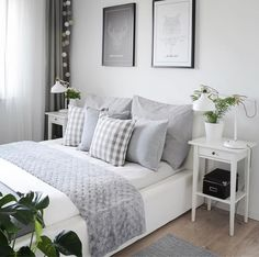 Home Bedroom Design Grey Color Closet Furniture White Room Ideas Bedroom, Decor Room, Home Decor Bedroom, Ikea Bedroom, Gray Bedroom, Bedroom Furniture, Bedroom Rustic, White Furniture, Master Bedroom
