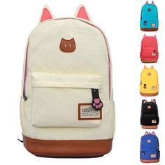 Girl Canvas Shoulder Bag Teens Backpack Cat Pattern Korean Bookbag Schoolbag  | Clothing, Shoes & Accessories, Women's Handbags & Bags, Backpacks & Bookbags | eBay!