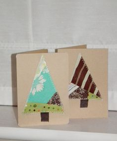 Stitched Christmas tree cards - Super easy and quick.  These would be great even for a last minute card.