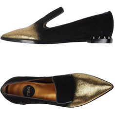 Ras Loafer ($114) ❤ liked on Polyvore featuring shoes, loafers, black, black leather loafers, two tone loafers, studded loafers, leather flat shoes and black loafer shoes