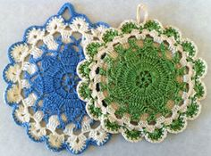 Queen Anne's Lace Vintage Potholder – Free Crochet Pattern except I'm going to use nylon rope, scale up and make a rug for our gazebo!