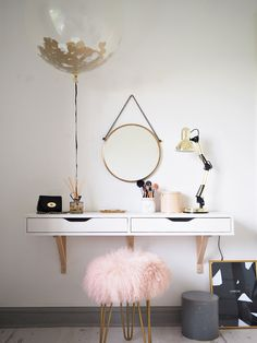 Come get amazed by the best dressing table inspiration. See more pieces at www. Come get amazed by the best dressing table inspiration. See more p Dressing Table Inspiration, Dressing Table Design, Room Inspiration, Table Dressing, Dressing Table Ideas Ikea, Ikea Dressing Room, Dressing Table Organisation, Floating Shelves Bedroom, Floating Shelves Kitchen