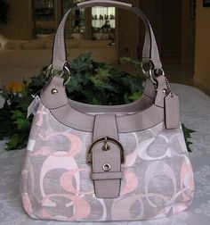 Lg. Optic Signature Linen/Leather Hobo #19193. Starting at $45 on Tophatter.com!