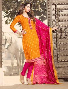 $24.32 Orange Chanderi Cotton Churidar Suit 56531