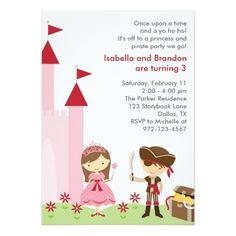 Twins Birthday Party Invitations Princess and Pirate Invitation