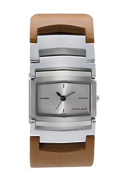This mid-sized shaped case gets a rather chunky look with the hybrid leather and metal bracelet. The bold broad look of the strap gives this otherwise simplistic looking watch a very differentiated look for the new age girl.  His & Hers from Fastrack    http://www.fastrack.in/product/6062sl01/?filter=yes=india=2=25&_=1340214981920#