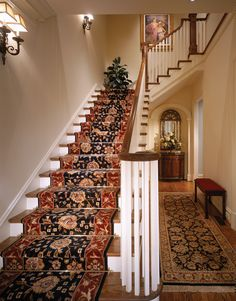 Zoroufy's Heritage Collection stair rods installed on a beautiful staircase.
