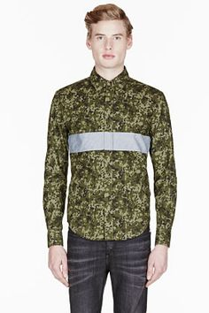 Band Of Outsiders Ssense Exclusive Green Camouflage Panel Stripe Shirt for men | SSENSE