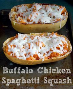 Buffalo chicken spaghetti squash is spicy, loaded with chicken, and covered in melted cheese. This veggie is a great pasta substitute for low-carb dieters. Buffalo Chicken Spaghetti Squash, Spaghetti Squash Recipes, Low Carb Recipes, Cooking Recipes, Healthy Recipes, Bariatric Recipes, Ww Recipes, Summer Recipes, Healthy Meals