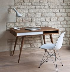 Desk. Chair. Lamp. Apple