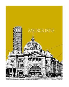 Melbourne City Skyline   Melbourne Australia Poster 2  by DBArtist, $20.00