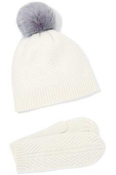 8f3cc9032ff PORTOLANO Cashmere mittens and pompom-embellished beanie set Top Designer  Brands