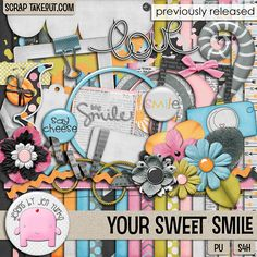 This cute, whimsical kit is sure to be a favorite for scrapping those special faces and sweet smiles! You will love the pretty flowers, ribbons, string, flairs and word art, and all the other special treats waiting for you in this kit: Available at Scrap Take Out: http://scraptakeout.com/shoppe/Your-Sweet-Smile-Full-Kit.html