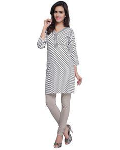 Buy Prafful White Cotton Printed kurti PTJAI-109-B at lowest price