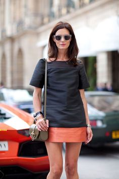 Fall 2012 Couture Street Style: The blogger from The Northern Light keeps it chic in a color-blocked shift.