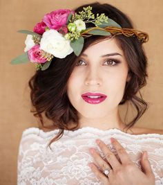 Pair your wedding flower crown with an updo + magenta lips for a stunning look.