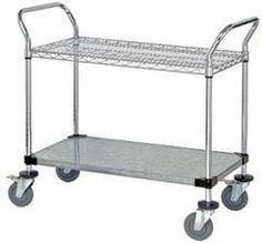 24 Deep x 54 Wide x 39 High 2 Tier Medium Duty Chrome Wire Utility Cart with 1 Wire Shelf  1 Solid Shelf ** You can get more details by clicking on the image.
