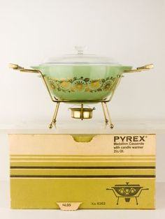 Vintage Near Mint 1962 Pyrex Medallion Promotional Sage Green Covered Casserole with Candle Warming Stand, 2-1/2 Qt. Capacity No. 6362 & 443