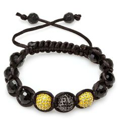 Bracelet Mens Ladies Unisex Hip Hop Style Pave Three Crystal Yellow & Black Disco Ball Faceted Bead Unisex Adjustable DazzlingRock Collection. $9.99. This is a unique Buddhist inspired beaded hip hop style bracelet.. The length is adjustable. Get most bang for your buck. It is a trendy accessory and makes a perfect gift for any occasion.. This bracelet is iced out