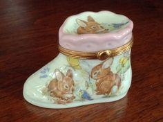 Limoges Hinged Trinket Box, Pink Baby Shoe