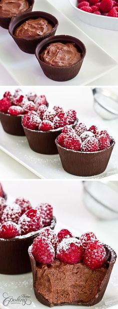 Chocolate raspberry tart Ingredients: Prep Time: 30 min+chilling time Total Time: 40 mins+chilling time 7 oz g) dark chocolate cocoa) 6 aluminum muffin cups 5 oz g) fres Best Chocolate Desserts, Fancy Desserts, Chocolate Cups, Just Desserts, Delicious Desserts, Yummy Food, Raspberry Chocolate, Divine Chocolate, Chocolate Smoothies