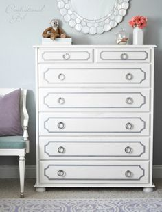 Painted white dresser with gray overlays and Hickory Hardware Camarilla Satin Nickel ring pulls (P3910-SN).