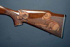 Rifle Stock, Gun Art, Hunting Rifles, Deer Hunting, Fire Powers, Custom Guns, Metal Engraving, Cool Guns, Woodland Creatures