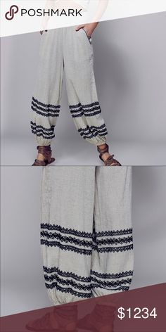 """ISO (In Search Of) Free People harem pant. I believe they are cotton with black embroidery. I bought them from someone on here, but she chose to NOT send them even after I accepted her counter offer. Said they were defective (NWT?), but never communicated with me about it. I would have gladly re-negotiated a fair price based on the """"defect"""". Broke my heart 😢 Does ANYBODY have these preferably in an xs? Thanks in advance ❣️ ❗️P.S. I do NOT have a pair to sell, so please understand when I…"""