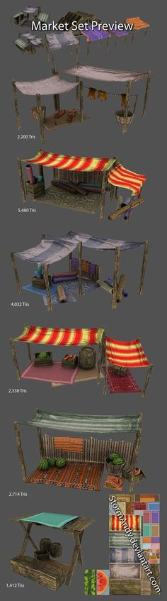sheet of the market set/Texture Atlas i made earlier this year for a project. Texture Atlas is and for the melon slice. Journey To Bethlehem, Christmas Nativity Scene, 3d Home, Market Stalls, Miniature Houses, Fairy Houses, Game Design, Game Art, Scenery