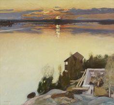 """art-is-art-is-art:  """"Sunset at Lake Tuusula, Pekka Halonen  """""""