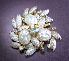 White Molded Lava Glass Brooch ABs Beau Jewels by RenaissanceFair