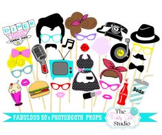 30pc Fabulous 50's Themed Photo Booth par ThePartyGirlStudio
