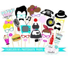 30pc Fabulous 50's Themed Photo Booth par ThePartyGirlStudio
