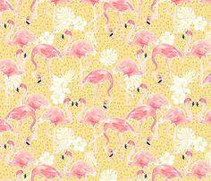 Tropicana Flamingo (gold) fabric by nouveau_bohemian on Spoonflower - custom fabric