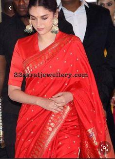 Aditi Rao Hydari at Soundarya Rajinikanth Wedding Indian Wedding Outfits, Indian Outfits, Latest Indian Fashion Trends, Saree Blouse Neck Designs, Stylish Blouse Design, Elegant Saree, Saree Look, Indian Designer Outfits, Fancy Sarees