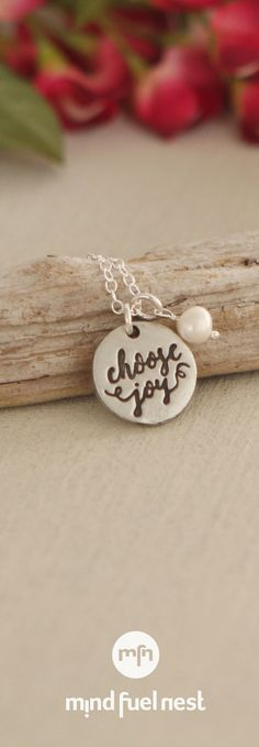 Choose Joy Pearl and Pewter Pendant Necklace, USA
