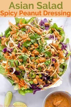 Asian Pasta Salads, Dinner Salads, Crispy Chow Mein Noodles, Peanut Dressing, Healthy Salad Recipes, Vegan Recipes, Cooking Recipes, Spicy, Healthy Eating